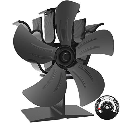 Ofenventilator mit 5 Flügeln, leiser und wärmebetriebener Holzbrennerventilator, umweltfreundliche Wärmezirkulation für Kamine [A++]