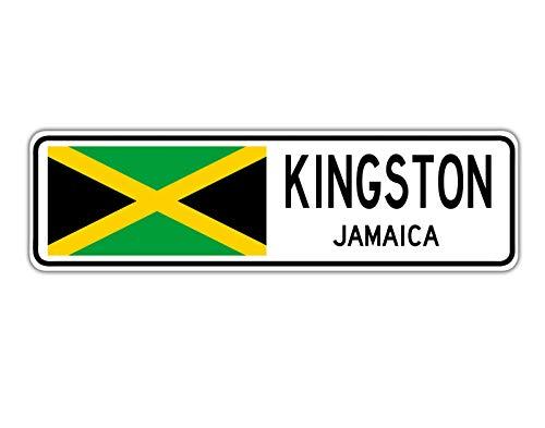 TNND New Kingston Jamaica Straßenschild Jamaika-Flagge City Country Road Wall Street Sign 10,2 x 40,6 cm