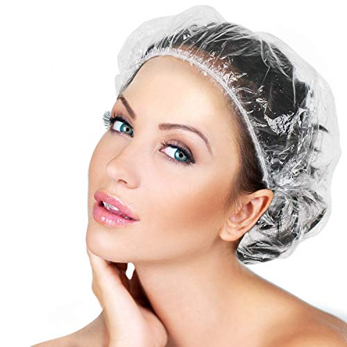 Disposable Shower Caps 100 Pcs - Multi-Purpose Thickening Elastic Bath Cap Plastic Waterproof Clear Shower Caps Bath Shower Hair Caps Women Spa,Home Use, Hotel and Hair Salon, Portable Travel