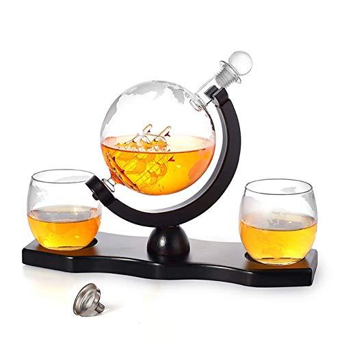 Botella de Vino con Forma de Tierra, Juego de decantador Whisky Personalizado, contenedor de Vino, decantador de borosilicato Alto con Marco de Madera Ondulado, decantador de Whisky de 900 ml