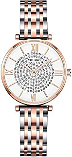 Wristband Women Watch Full Gold Stainless Steel Quartz Diamonds Dial Watches Analog Wrist Watches,Colour Name:Silver (Colo...