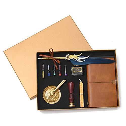 NINGYE - Set di Penne per Calligrafia, Penne stilografiche e Inchiostro, con taccuino in Pelle, Idea Regalo Marina Militare
