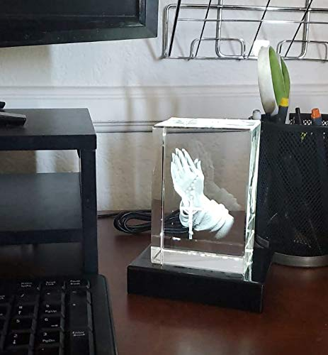 3D Photo Crystal Gift - M Portrait Shape Etched, Laser Engraved Glass, Praying Hands Religion | Birthday, Anniversary, Wedding, Mother's Day, Father's Day, Christmas for Any Occasion