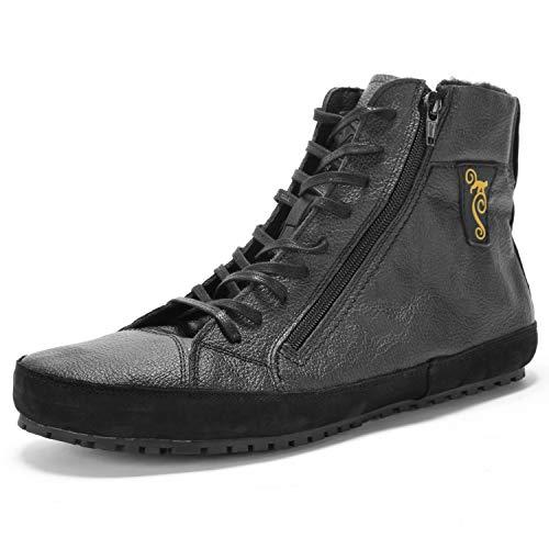 Magical Shoes Barfußschuhe Männer Outdoor I Leder Barfuß Schuhe   Barefoot Shoes Men   Übergangsschuhe mit Innenfutter I minimalistische Winterschuhe I Gr. 47/302mm, Schwarz I Alaskan 2.0