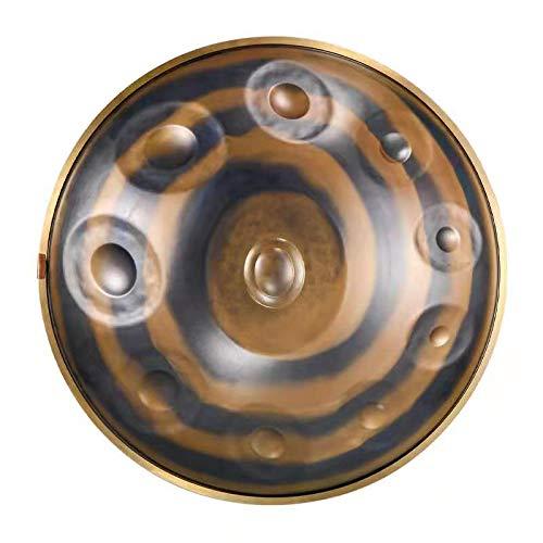 JTYX Tambor Handpan,Instrumento De Tambor Handpan, Tambor De Lengua De Acero En Re Menor, 10 Notas, Tambor De Mano De Acero De 22 Pulgadas para Curar La Mente