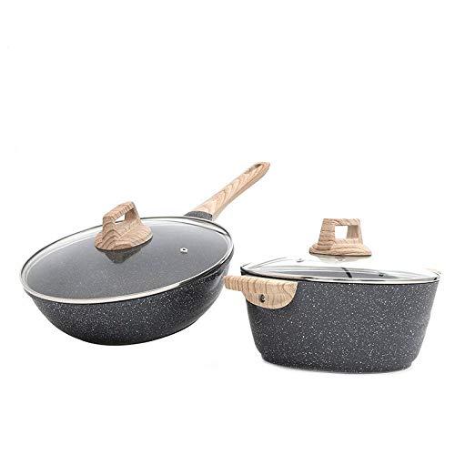 24Cm Soeppot + 30Cm Wok Set Maifan Steen Platte Bodem Anti-aanbakplaat Huishoudelijke Koekenpan Multi-Functie Keukenpot Dik en Duurzaam Wok + soup pot Zoals getoond