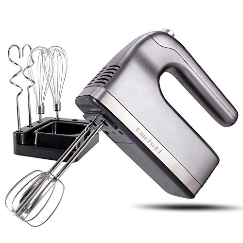DmofwHi 9-Speed Hand Mixer Electric with Timer and Digital Screen, Kitchen Handheld Mixer with Storage Case and 6 Stainless Steel Attachments