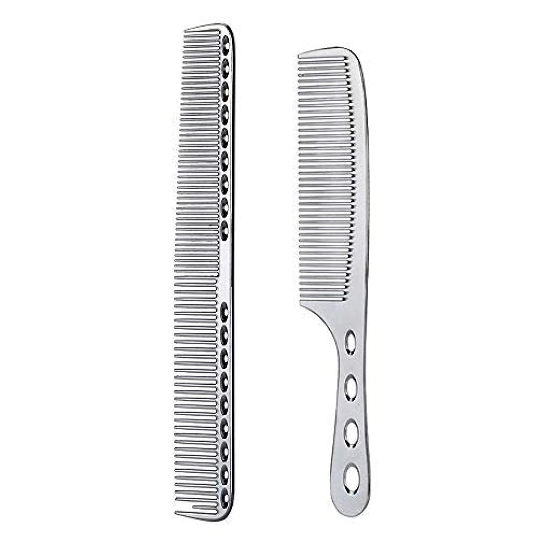 繊細感謝祭置き場2 pcs Stainless Steel Hair Combs Anti Static Styling Comb Hairdressing Barbers Combs (Silver) [並行輸入品]
