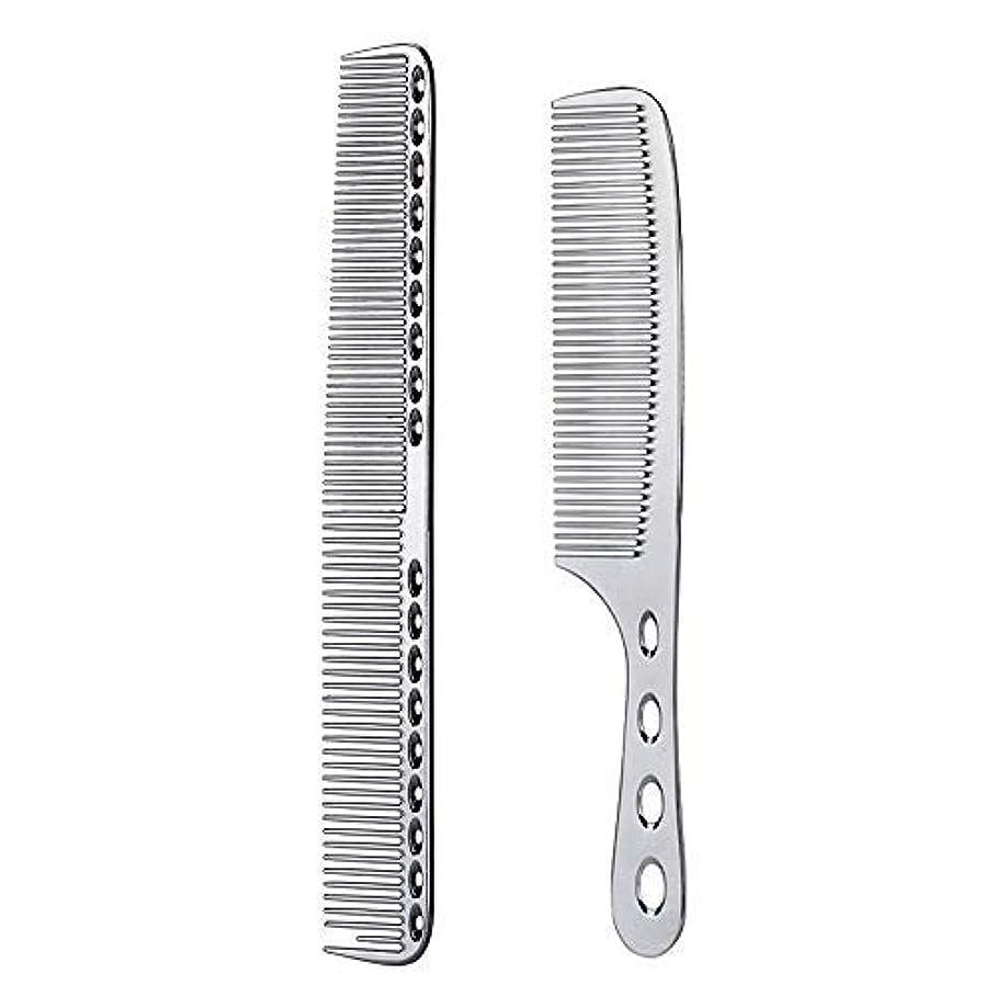 ページェント換気寛容2 pcs Stainless Steel Hair Combs Anti Static Styling Comb Hairdressing Barbers Combs (Silver) [並行輸入品]