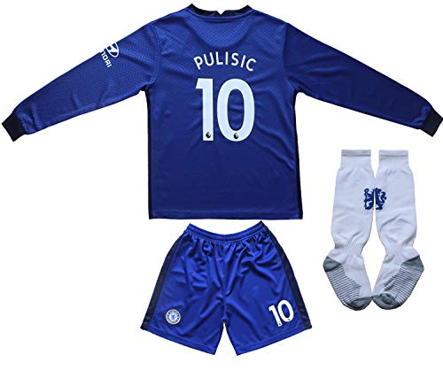 Necm 2020/2021 Chelsea Home #22 Christian PULISIC Soccer Kids Long Sleeve Jersey Shorts Socks Set Youth Sizes (Home, 24