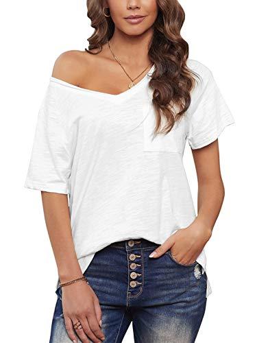 Uusollecy Damen T-Shirt Sommer, V-Ausschnitt Basic Kurzarm Shirts, Einfarbig Casual Loose Oberteile mit Tasche, Lockere Bluse Tops Für Frauen Teen Girls Weiß M