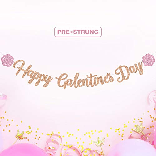 Happy Galentine's Day Banner Rose Gold Glitter Pink Rose Party Decorations Be My Galentine Theme Ideas Valentine's Favors Girls Gathering Photo Booth Props Ladies Celebration Brunch Backdrop Supplies