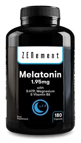 Melatonina 1,95 mg con 5-HTP, Magnesio y Vitamina B6, 180 Cápsulas | Ayuda con el insomnio o trastornos del sueño | Vegano, No-GMO, GMP, libre de aditivos, sin Gluten | de Zenement