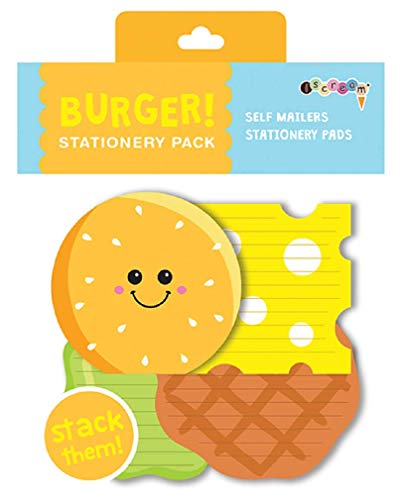 iscream Burger Buddies Stack and Send Creative Valentine Stationery Sheets with 12 Mailers