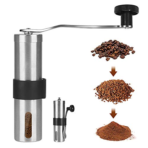 AVNICUD Manual Coffee Grinder, Ceramic Burr Coffee Grinder with Adjustable Setting, Portable Brushed Stainless Steel Coffee Bean Grinder for Travel,Hand Crank Conical Burr Mill for Precision Brewing