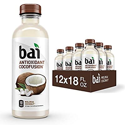 Bai Coconut Flavored Water, Molokai Coconut, Antioxidant Infused Drinks, 18 Fluid Ounce Bottles, 12 Count