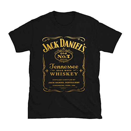 Jack Vintage Shirt for Men - Mens Graphic Daniel's Whiskey Old No.7 Label Black Tees (L)