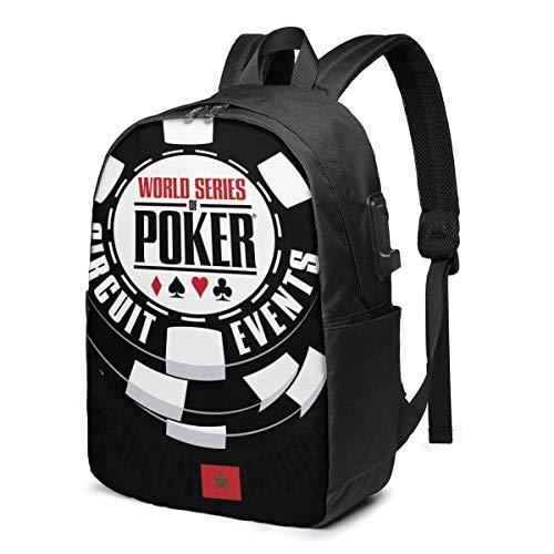 """HOIH USB kuprinė, 17 colių """"WSOP World Series of Poker 2016"""", kuprinė su USB įkrovimo prievadu, nešiojamojo kompiuterio kuprinė"""