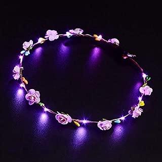 Whiteswanau LED Glowing Wreath Flower Crown Hair Band Wedding Floral Garland Festival Flower Headdress Hair Accessory Festival