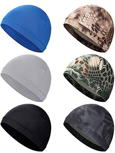 SATINIOR 6 Pieces Unisex Helmet Liner Skull Cap Cooling Cycling Cap Sports Helmet Cap Sweat Wicking Cap (Black, Dark Blue, Grey, Camouflage)
