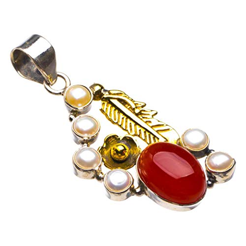 Natural Carnelian And River Pearl Feather Handmade 925 Sterling Silver Pendant 2' D1830