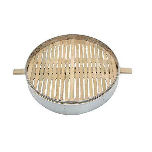 无 Handgemachter Bambusdämpfer, Küche Bambus Dampfer, Dampfgarer Bambus, 2 Etagen Bambusd mpfer 52cm mit Deckel, für Asiatische Kochbrötchen Mehlklöße Gemüse Fischreis