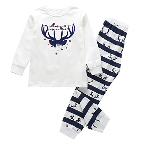 Hui.Hui Noël Parent-Enfant Vêtements de Bébé Cerf Imprimé T-Shirt Blouse Tops Manches Longues + Rayure Pantalons Tenues Ensembles Homewear