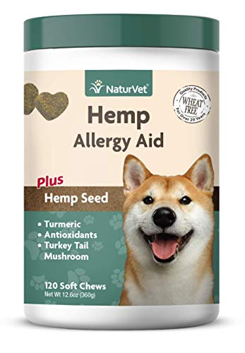 Price comparison product image NaturVet Hemp Allergy Aid for Dogs - Plus Hemp Seed Helps Maintain Proper Skin Moisture & Respiratory Health Enhanced with Antioxidants,  Omegas,  DHA,  EPA & Hemp Seeds 120 Soft Chews