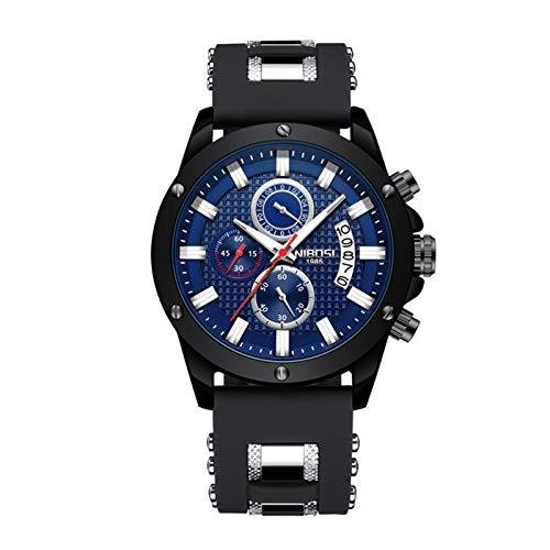 HQYXGS Mode Geschäftsmann Uhr, DREI Eye Timer Quarztisch, Fashion Timeline Tisch Sportuhr, wasserdichte Qualität Mineralspiegel,Black and Blue