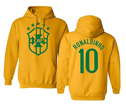 Tcamp Soccer Legends #10 Ronaldinho Jersey Style Men's Hooded Sweatshirt (Gold, X-Large)