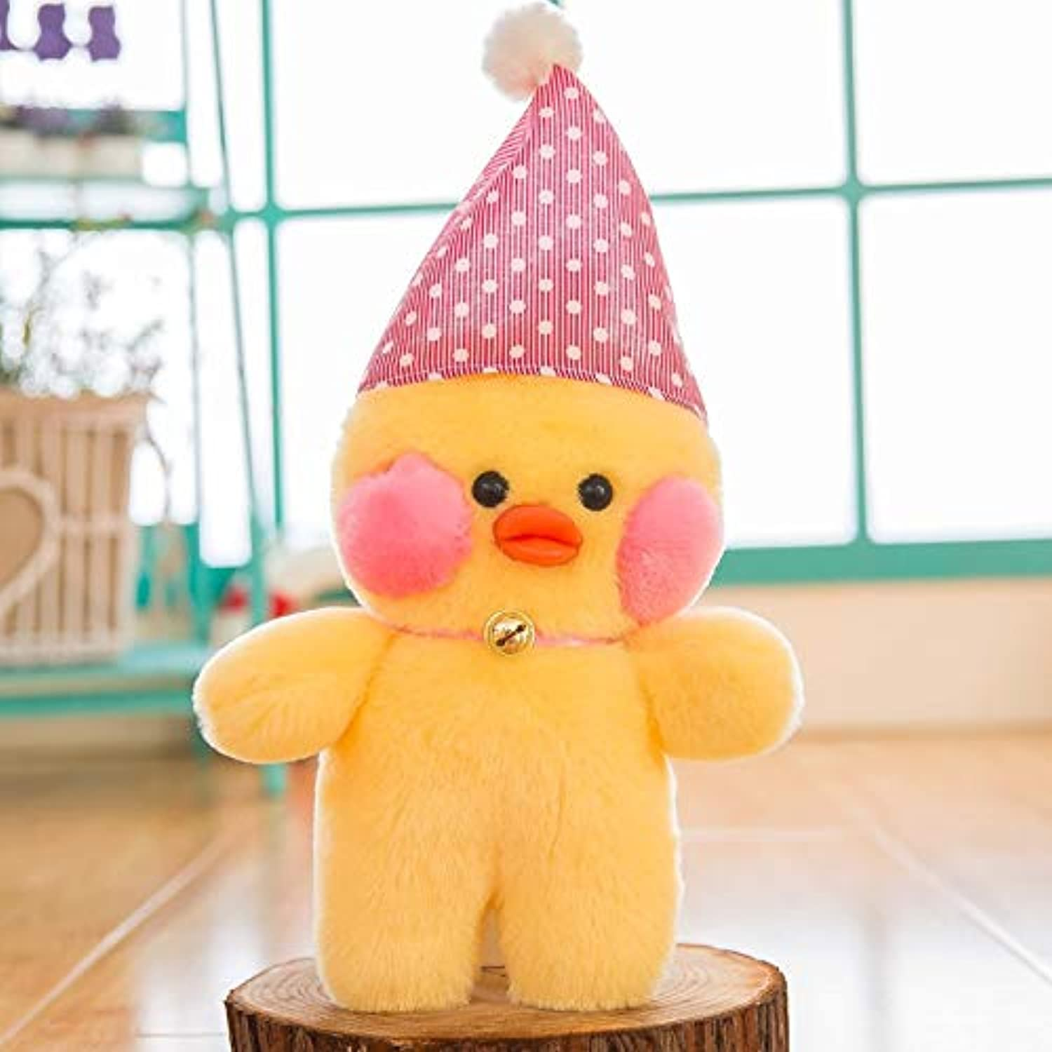 Happ trix LALAFANFAN Cute lalafanfan Cafe Mimi Kawaii Yellow Duck Stuffed Plush Toy Fashion Doll Pillow hyaluronic Acid bluesh Birthday Wedding Gift 26cm Pink