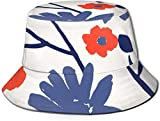 BONRI Sombreros de Cubo Transpirables con Parte Superior Plana Unisex Sombrero de Cubo de Comida Vegana Saludable Sombrero de Pescador de Verano-Flor Pintada a Mano-Talla única