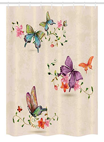 """Ambesonne Butterfly Stall Shower Curtain, Springtime Flying Moths on Vintage Style Background Wings Transformation, Fabric Bathroom Decor Set with Hooks, 54"""" X 78"""", Cream Pink"""