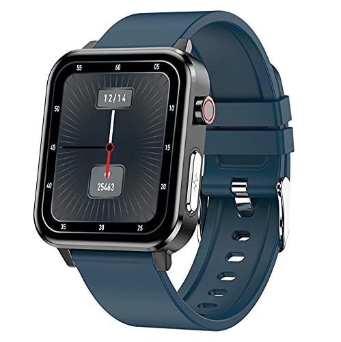 QFSLR Smartwatch Pulsera Inteligente con Monitoreo De Temperatura De Reloj Inteligente Monitor De Frecuencia Cardíaca Monitor De Presión Arterial Monitoreo De Oxígeno En Sangre,Azul