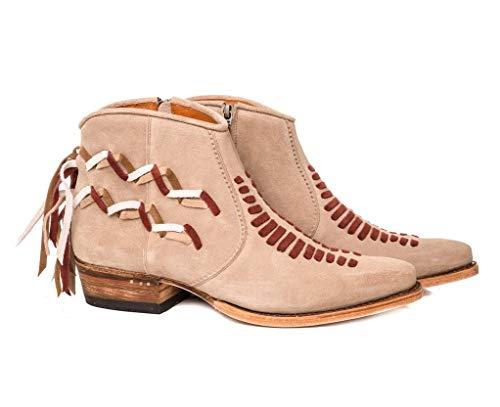 Sendra Boots Botín Western 13481 Coco en Serraje con pasados Indios en Contraste (36 EU, FIRENCE Bamby)