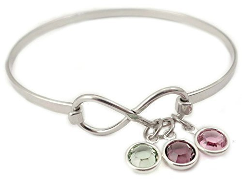 Infinity Birthstone Bangle Bracelet - Personalized Mother Jewelry - Charm Bracelet - 1017