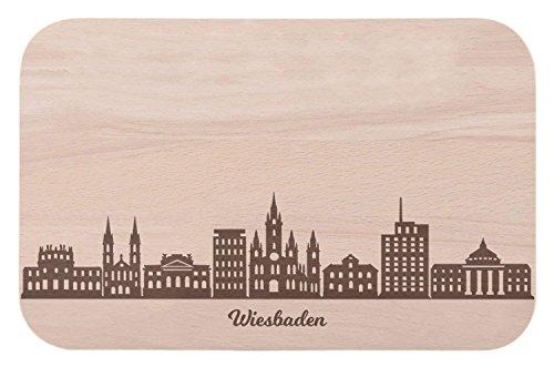 Frühstücksbrettchen Wiesbaden mit Skyline Gravur - Brotzeitbrett & Geschenk für Wiesbaden Stadtverliebte & Fans - ideal auch als Souvenir