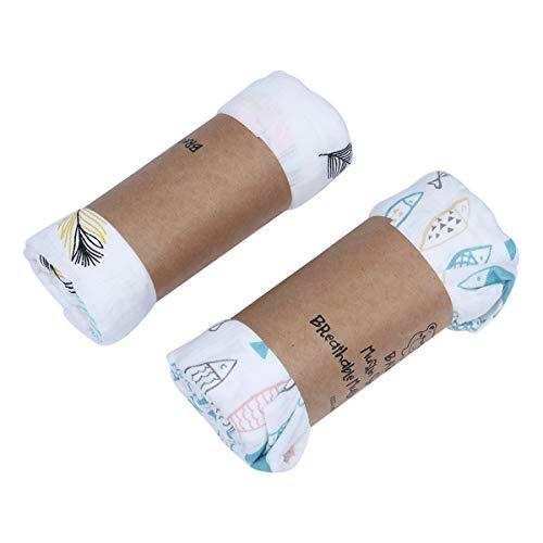 2 toallas de baño de gasa de algodón lindo toalla de baño de dibujos animados manta bebé recién nacido bebé abrigo toalla de baño (peces/plumas) suministros de fiesta de cumpleaños