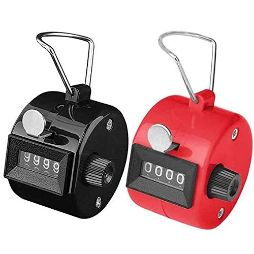 White Deer Pack of 2 Hand Tally Counter 4 Digit Mechanical Palm Counter Clicker Counter Hand Held Counter Clicker for People, Golf Sport/Stadium/Coach, and Other Event Assorted Colors