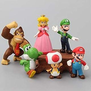 Super Mario Toys - 6Pcs Mario Toys with Luigi and Yoshi - Mario Bros Action Figures - Super Mario Cake Topper Decoration -...