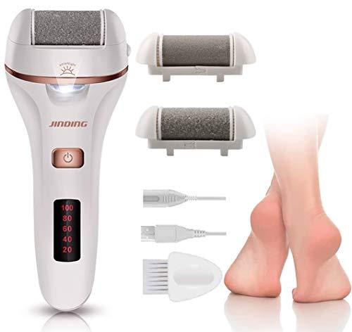 Aottom - Rallador eléctrico profesional para pedicura con luz LED, con 2 rodillos, lijadora de cuidado de pies profesionales para talones tendentes y piel dura