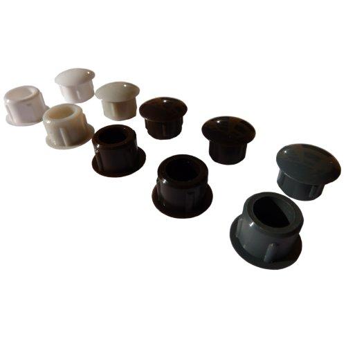 25 Flache Abdeckkappen für 10mm Bohrlöcher für Rollladen Führungsschiene Weiß