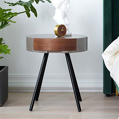 CaoQuanBaiHuoDian Beautiful Side Table Living Room Sofa Side Table Bedroom Bedside Table Furniture Decoration Home Bedroom Living Room Easy To Assemble Durable and Practical (Color : Gray, Size