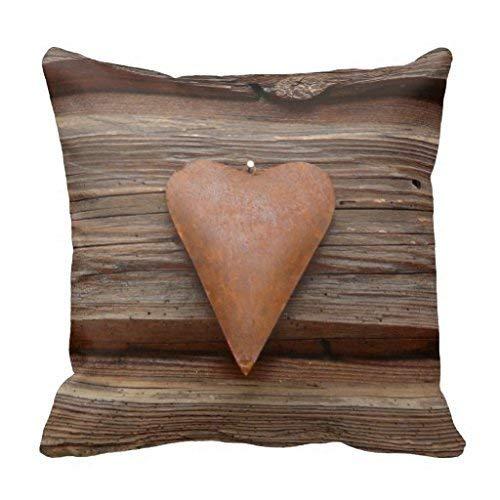 MedieMo Rustic Country Log - Funda de cojín de Madera de Cabina con Forma de corazón, 45,7 cm