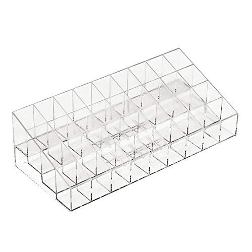 Transparent 36 grille support de rouge à lèvres acrylique organisateur cosmétique rouge à lèvres présentoir boîte de rangement portable de maquillage (transparent) FRjasnyfall