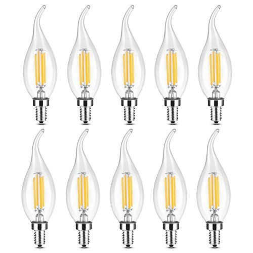 YQXR led bombillas Lámpara LED tipo vela, E14 4W Reemplazo equivalente Lámpara halógena de 35W CA 220-240V Luz LED COB vintage Adecuado para pub, exposición, uso en oficinas o en el hogar, etc. Pack P