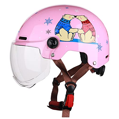 OUMIFA Casco Ajustable Casco eléctrico para Motocicletas Hombres y Mujeres Verano Protector Solar Medio Casco Cuatro Temporadas Casco de Gris Adulto Lindo Bicicleta de Carretera (Color : 3)