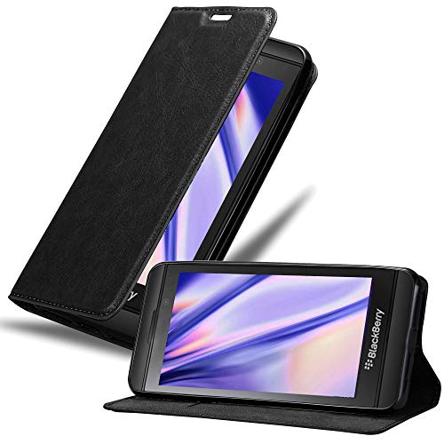 Cadorabo Hülle für BlackBerry Z10 in Nacht SCHWARZ - Handyhülle mit Magnetverschluss, Standfunktion & Kartenfach - Hülle Cover Schutzhülle Etui Tasche Book Klapp Style
