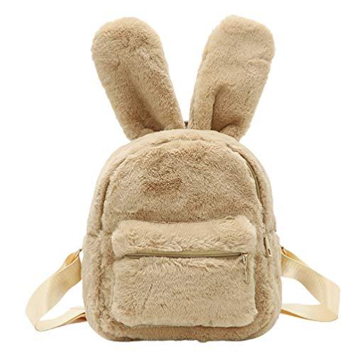 VALICLUD Mini Mochila Mujer Bolso de Hombro de Piel Sintética Bolso Grande de Felpa con Orejas de Conejo para Niños Adolescentes