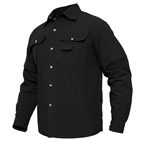 MAGCOMSEN Men's Quick Dry Breathable Convertible Long Sleeve Rip-Stop Shirt (XX-Large, Black)